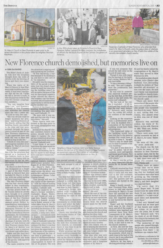 Newspaper article about St Mary's Church in New Florence, PA being torn down.